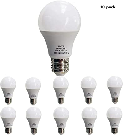 OMTO E26/E27 A19 LED Frosted Light Bulb 9W (60W Equivalent) White (