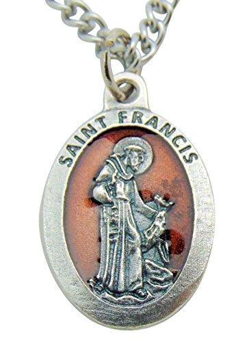 Esmalte rojo Santa medalla 3/4pulgadas colgante con cadena