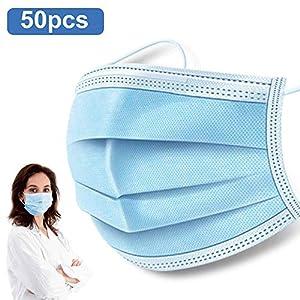 50 PCS Disposable Earloop Face Masks,Level 3 Respirator Masks For Germ Protection Antiviral Medical Surgical Dental Polypropylene Masks for Personal Health Virus Protection …