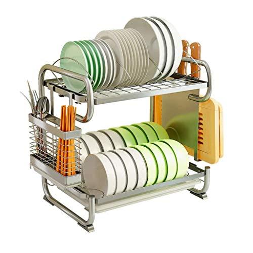 DAGONGREN Plato de Metal Rack - 2 Capa Tendedero, de Plata del Fregadero de Drenaje Rack, Cocina Moderna de Drenaje