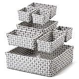 EZOWare Set de 8 Cajas de Almacenaje, Cestas Multiuso Tejido, Organizador de Cajones Ideal para Baño, Armario, Hogar, Vestidor, Tocador, Habitación de Niños - Gris y Blanco, Surtido