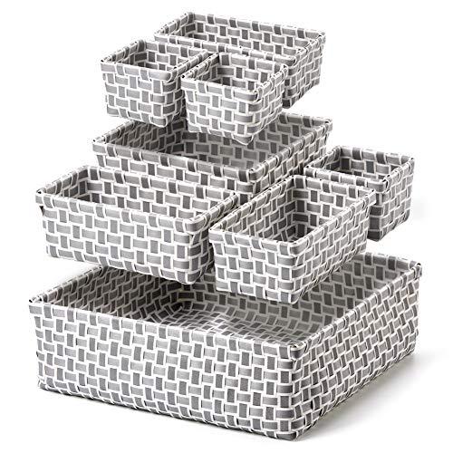 EZOWare Set van 8 Organisator Bins, geweven plank lade opbergdoos Containers Tote Manden Ideaal voor badkamer, Keuken, Dresser, Kwekerij, Sluiting, Home Organisatie - Verschillende maten, Grijs & Wit