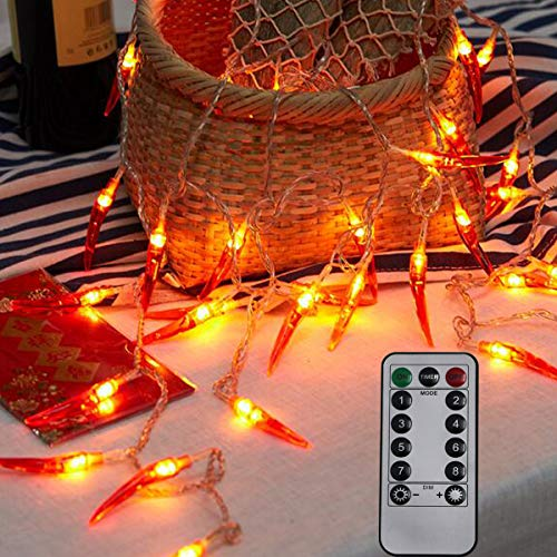 Dreamworth Red Chili String Lights,20ft 40 LED Chili String Lights Battery Operated Remote Contol Fairy Lights for Wedding, Chinese New Year,Spring Festival,Party Decoration,Christmas