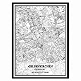 Gelsenkirchen Deutschland Karte Wandkunst Leinwand drucken