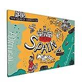 PATINISA Cuadro en Lienzo,Mapa de España,Impresión Artística Imagen Gráfica Decoracion de Pared