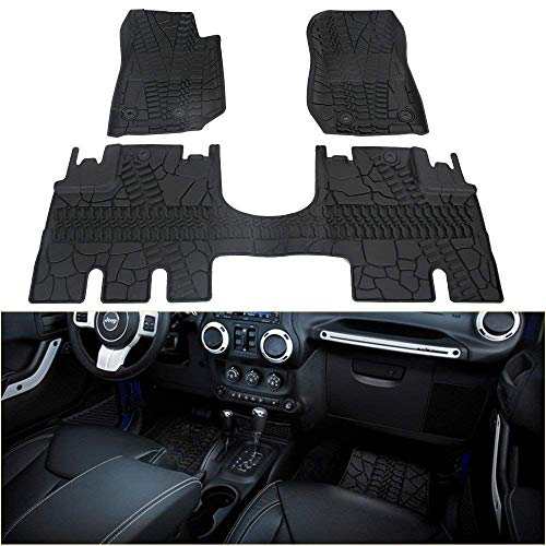 Bosmutus Floor Mats Liners Compatible, Front Row and Rear OEM Floor Liner Set 2014-2018 J-e-e-p Wrangler JK 4 Door Unlimited Slush - Unique TPE All Weather Protection, Includes 1st & 2nd (black5)