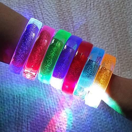 MJTP 12PCS LED-Glühen-Armbänder, LED-Blitz-Armband, LED leuchten Armbänder, Bunte LED-Armband-Partei-Spielwaren