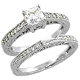 Sterling Silver Vintage Style Square Cubic Zirconia Engagement Ring 2 pc Set Princess ½ ct Center, size 8