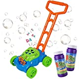 MOZOOSON Bubble Mower Toys for Toddlers, Bubble Machine with 2 x 118ml Bubble Solution, Bubble Blower Machine Lawn Games, Outdoor Push Toys, Christmas Birthday Gifts for Kids Boys Girls