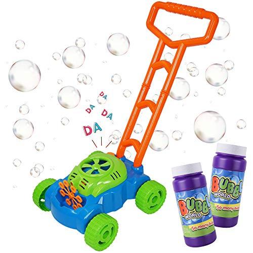 Seifenblasenmaschine Spielzeug für Baby Kinder ab 1 Jahre Bubble Maschine Outdoor Spielzeug für Jungen Mädchen (2 x Schaumwasser)