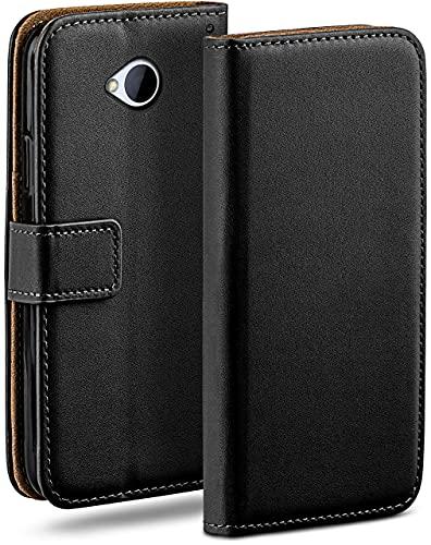 moex Klapphülle für HTC One M7 Hülle klappbar, Handyhülle mit Kartenfach, 360 Grad Schutzhülle zum klappen, Flip Hülle Book Cover, Vegan Leder Handytasche, Schwarz
