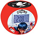 Lexibook Miraculous Ladybug Projektor-Radiowecker, Soundeffekte, Batterien, rot, RL975MI, Schwarz