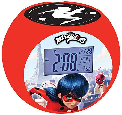 Lexibook- Miraculous Ladybug Radio réveil projecteur, Effets sonores, à Piles, Rouge, RL975MI, Noir
