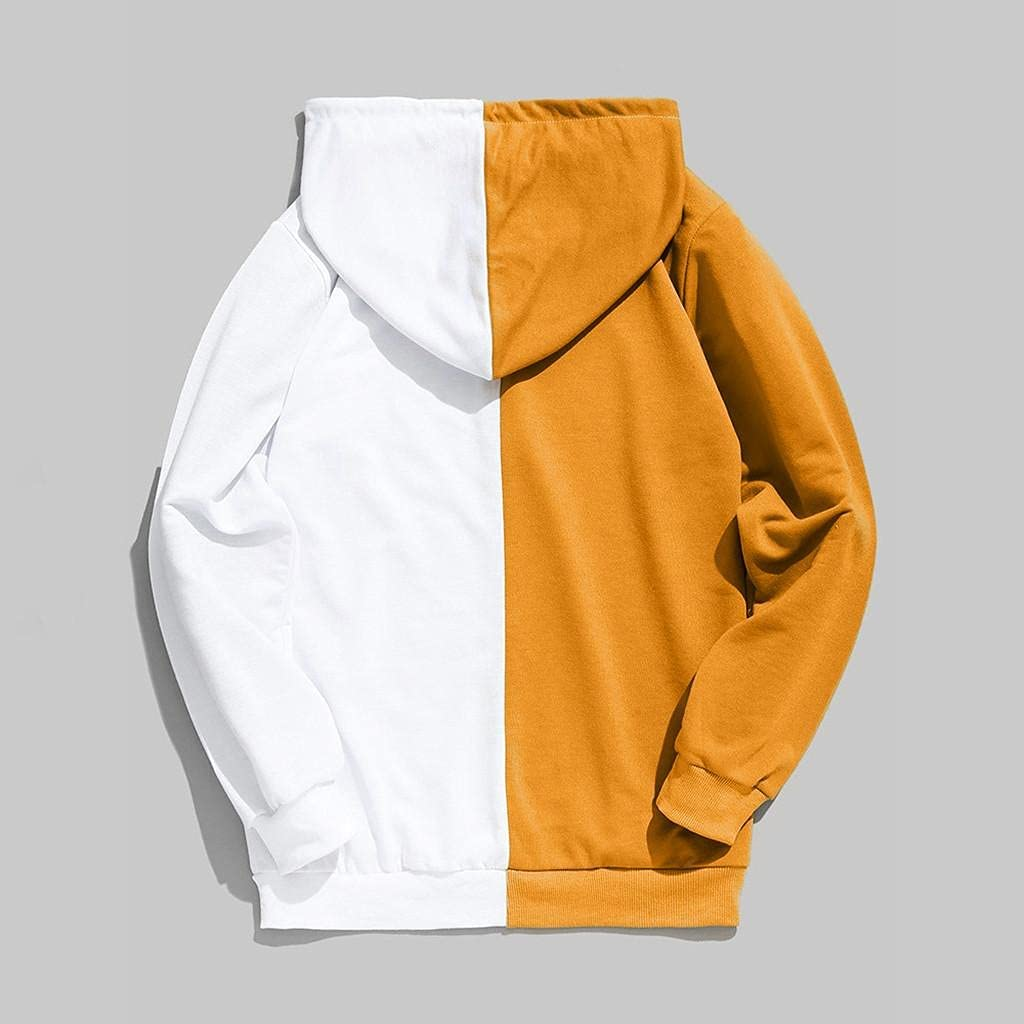 Hoodies for Men,Men's Casual Splicing Color Hoodies Sports Pullover Outwear Drawstring Long Sleeve Gym Sweatshirts