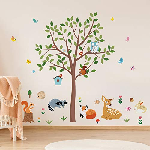 decalmile Pegatinas de Pared Animales Árbol Vinilos Decorativos Búho Zorro Ciervo Adhesivos Pared Habitación Infantiles Bebés Dormitorio(H: 133cm)