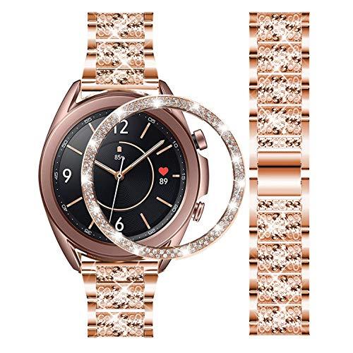 DEALELE Armband Kompatibel mit Samsung Galaxy Watch 3 41mm, 20mm Luxus Diamant Edelstahl Metall Uhrenarmband mit Strass Lünette Ring Schutzhülle Ersatz Uhrenarmband, Roségold
