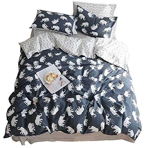 HIGHBUY Elephant Print Bedding Duvet Cover Set Queen 100% Cotton Adult Kids Bedding Sets Queen 3 Piece Include 2 Pillow Shams Reversible Geometric Pattern Comforter Cover for Boys Girls Teens