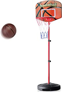 Fajiabao Kids Basketball Hoop Stand Set Adjustable Height 31.1 - 62.9 Inches with Ball & Net Play Sport Games for Toddlers Boys Girls Children Indoors Outdoors Toys
