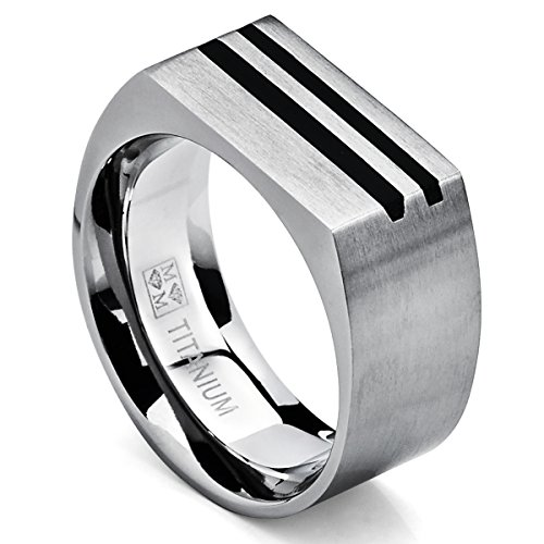 Men's Bold Titanium Pinky Ring Bands with Resin Inlay, Brushed Finish Comfort Fit 10mm Size 9
