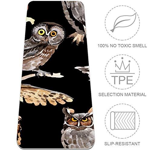 ASDFSD Sky Bird Owl - Esterilla de yoga con superficie antideslizante texturizada de 0.25' en ambos lados, reversible, ligera y duradera, perfecta para yoga, pilates, estiramiento o gimnasia, Multi02, 32x72 in-80x183 cm