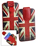 Emartbuy Union Jack Print Premium PU Leather Slide in Pouch Case Cover Sleeve Cover Holder (Size LM2) with Pull Tab Mechanism Suitable for Wileyfox Spark 4G Dual Sim