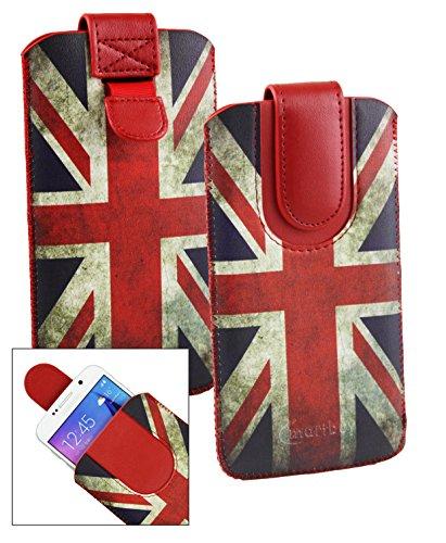 Emartbuy® Union Jack Print Premium PU Leder Slide in Hülle Tasche Sleeve Abdeckungs Halter (Größe LM4) Mit Pull Tab Mechanism Passend für Hisense A1 Smartphone