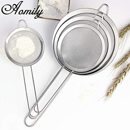 Feinmaschiges Edelstahlsieb, Küchensieb für Mehlpulver, Sieb für Zuhause, Küche, Backen, Puderzucker, 14 cm