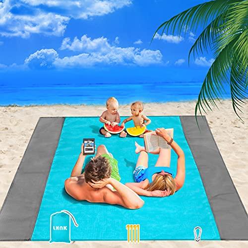 LHNK Picknickdecke 210cm x 200cm, Übergroße sanddichte & wasserdichte Stranddecke, Tragbare Strandmatte leicht zu reinigen und für Picknick/Camping/Wandern/Reisen/Musikfestival