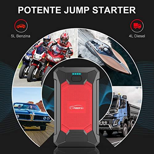 YABER Avviatore Emergenza per Auto, 800A 12000mAh Avviatore Batteria Auto/Moto 12V Jump Starter Booster Auto Impermeabile IP66 Power Bank, Torcia LED, Porta USB da per Smartphone-Upgrade