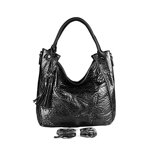 OBC Damen Stern Tasche METALLIC Nieten Handtasche Fransen Schultertasche Bowling Shopper Hobo-Bag Umhängetasche Henkeltasche Schwarz