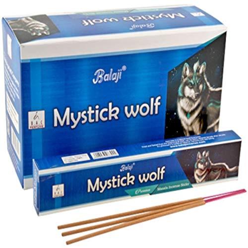 Balaji Incienso MYSTICK Wolf Lobo Mistico 12 cajetillas de 15 Gramos Cada una.