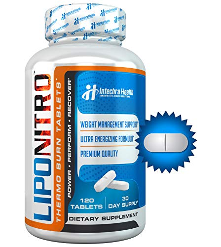 LipoNitro® Maximum Strength Thermo-Burn Diet Pills with Nitro Energy - Scientifically Researched Ingredients - Highest Quality Dietary Supplement Manufactured in USA - 120 Tablets