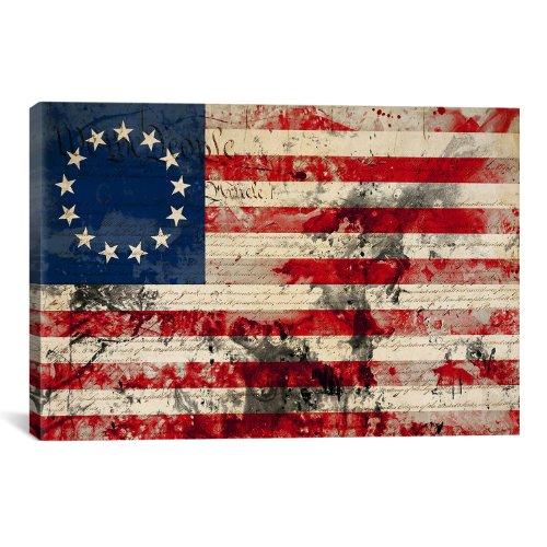 iCanvasART Betsy RossUSA Flag, 1#3 Stars Canvas Art Print, 1...