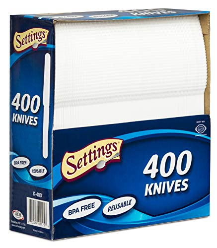 Settings Cutlery 400 Count Disposable Plastic White Knives