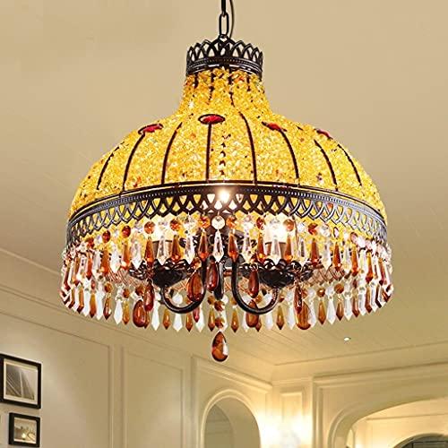 Lámpara de comedor Lámpara de cristal Lámpara de dormitorio Lámpara de araña dorada cálida E27 Habitación bohemia Dormitorio Creativo Sudeste asiático Lámpara de araña Retro Restaurante Balcón Pasillo