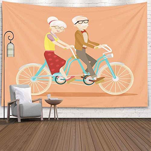 XNJHFGVB Tapiz de pared para Halloween, Navidad, Día de Acción de Gracias, otoño, 201 x 152 cm en bicicleta, ilustración plana para colgar en la pared, tapiz para decoración de dormitorio, hogar