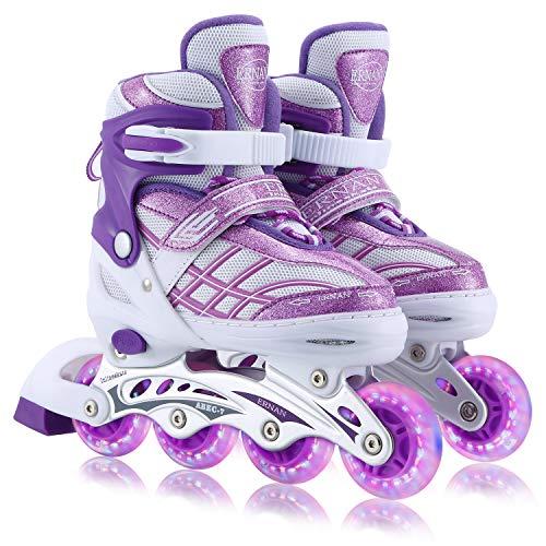 Kids Adjustable Inline Skates with Full Light Up Wheels, Fun Flashing Beginner Skates for Girls Boys(Purple, Medium)