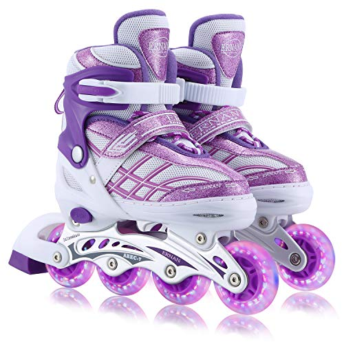 Kids Adjustable Inline Skates with Full Light Up Wheels, Fun Flashing Beginner Skates for Girls Boys(Purple, Medium)