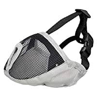 Muzzle designed specifically for short nosed breeds. Made from polyester, for short-nosed breeds, prevents biting, continuously adjustable forehead strap and neck strap with buckle, giving treats possible. Muzzles prevent biting, no problems with pan...