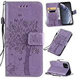 Ogmuk Fashion Premium Purple Emboss Tree Cat Butterfly Flowers Strap Case for Girly Women Stand Lovely Stylish Kickstand Credit Cards Slot Cash PU Leather Flip Wallet Case for Samsung Galaxy S10