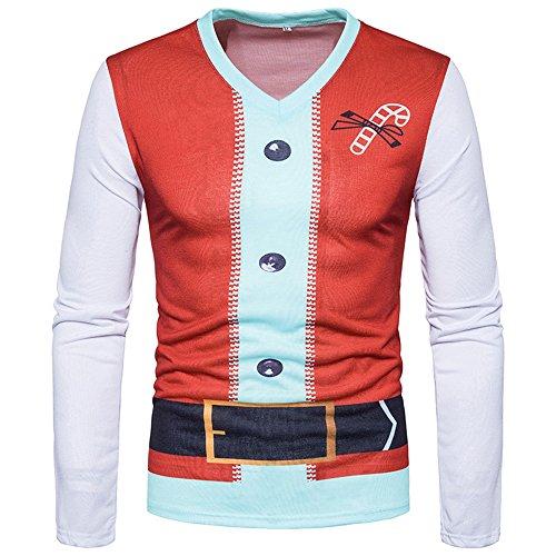 OEAK' heren T-shirt 3D lange mouwen ronde hals lange mouwen hol T-shirt Kerstmis voor mannen in etnische stijl ronde hals