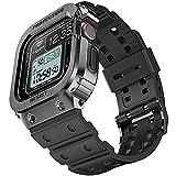 amBand Armband für Apple Watch 44mm Series 6/SE/5/4, Metall Schutzhülle mit Ersatzband, Militärisches Sportliches Band mit Hülle für iWatch Serie 44 mm Black
