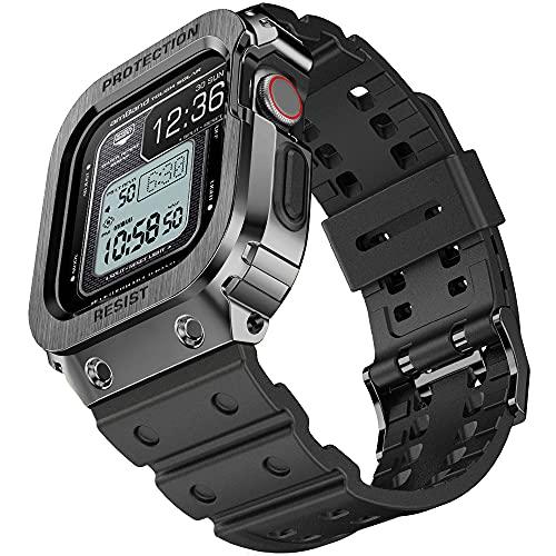 amBand Sport Militar Correa Compatible con Apple Watch 44mm, Ajustable Correa de Repuesto con Funda Compatible con iWatch 44 mm Serie 6/5/4/SE Negro