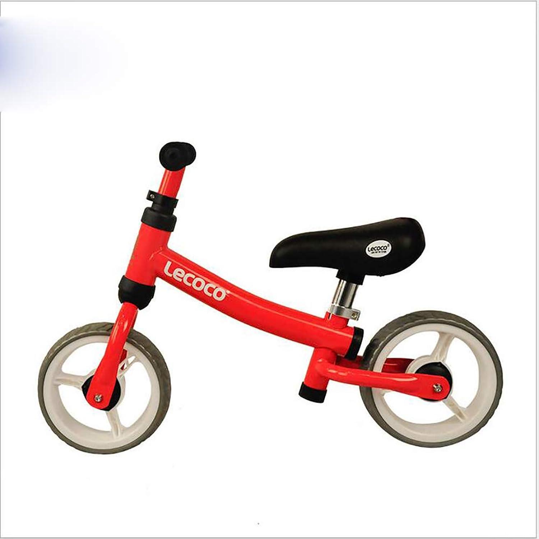 Lhh Bambini Equilibrio Bicicletta Senza Pedale Regolabile Aerato Non Pneumatico per Bambini 2-6 Anni (12 Pollice)