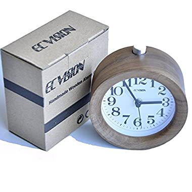 ECVISION Handmade Classic Small Round Silent table Snooze Wood Alarm Clock with nightlight-Black Walnut Wooden Clock