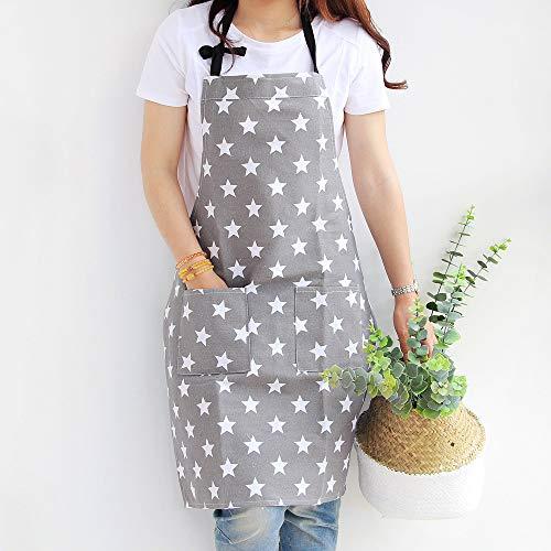 JameStyle26 Stern Schürze aus Baumwolle & Leinen Star Damen Küchenschürze Latzschürze Kochschürze mit Tasche Kochen Backen (Grau)