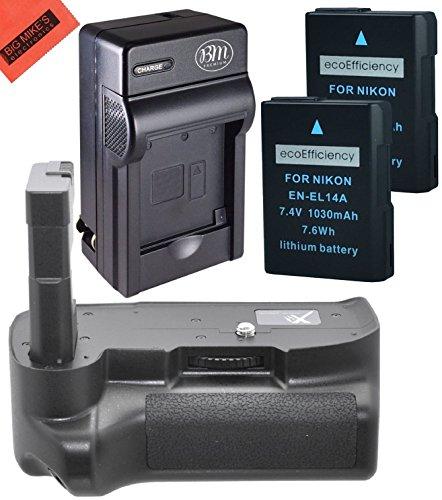 Battery Grip Kit for Nikon D3400 Digital SLR Camera - Includes Replacement BG-N12 Battery Grip + Qty 2 ecoEfficiency EN-EL14a Batteries+ Rapid AC/DC Battery Charger