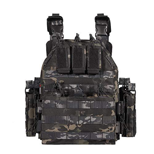 Flye Taktischer Plattenträger Weste, YAKEDA Modular Tactical Vest Quick Release Trainingskampfweste für CS-Spiele, Armeefans, Aktivitäten im Freien usw