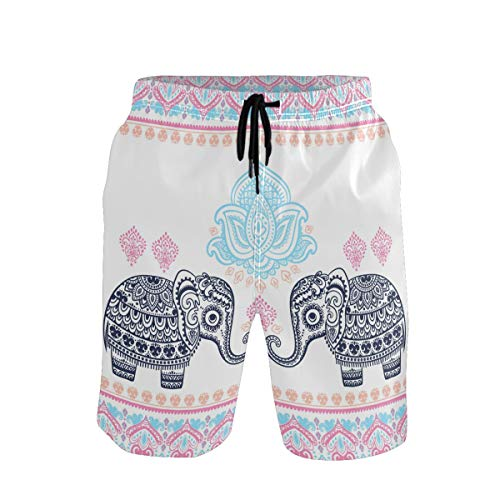 Emoya - Bañador para hombre, diseño de elefante y loto Multicolor Multicolor XL