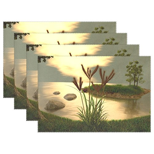 QYUESHANG Evening Summer Lake Nature 3d Blender Placemats Set Of 4 Heat Insulation Stain Resistant For Dining Table Durable Non-slip Kitchen Table Place Mats